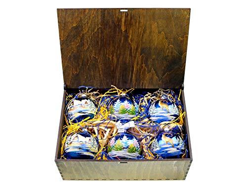 Victoria Bella Juego de 6 bolas de Navidad de cristal pintadas a mano para árbol de Navidad motivos de Navidad sobre fondo azul