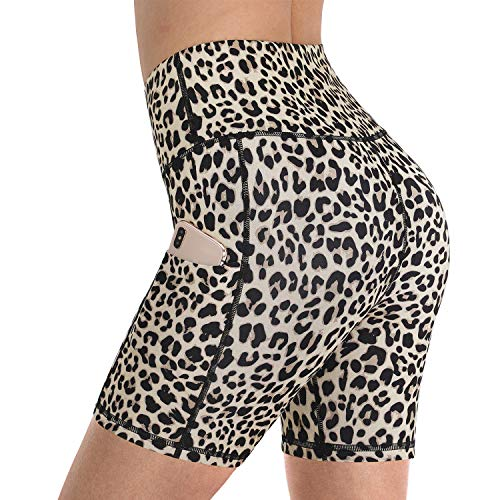 "Promover High Waist Yoga Shorts for Women Tummy Control Non See-Through Workout Biker Shorts Running Compression Shorts Leggings Hidden Pocket 5"" Inseam (Leopard, M)"