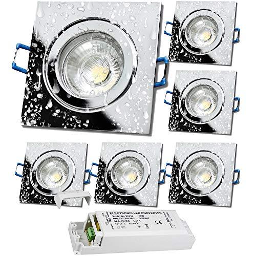 LED Bad Einbauleuchten 12V inkl. 6 x 5W LED LM Farbe Chrom IP44 LED Einbaustrahler Neptun Eckig 4000K mit Trafo