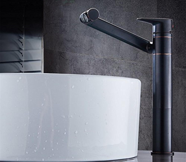 Athraoay Wasserhahn bad Waschbecken Messing 1 Bohrung Heies und Kaltes Wasser schwenken Schwarzes l eingerieben Bronze der Einhebelsteuerung Waschtischarmatur Waschtisch für Badezimmer