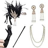 Coucoland 1920s Accessoires Set Damen Gatsby Kostüm Zubehör Set inklusive Stirnband Halskette Handschuhe Ohrringe Zigarettenhalter (Set-17) -