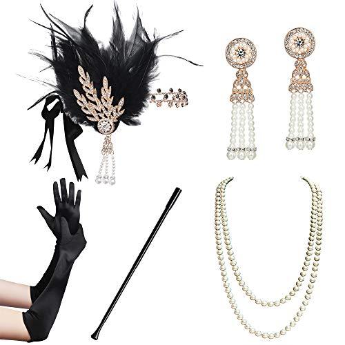 Coucoland 1920s Accessoires Set Damen Gatsby Kostüm Zubehör Set inklusive Stirnband Halskette Handschuhe Ohrringe Zigarettenhalter (Set-17)