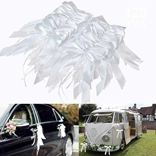 O-Kinee Noeud Voiture Mariage Blanc, 120 Pièces Deco Voiture Mariage, Ruban Voiture Mariage pour Mariage, Wedding Crmonie, Bouquet, Chaise, Cadeau