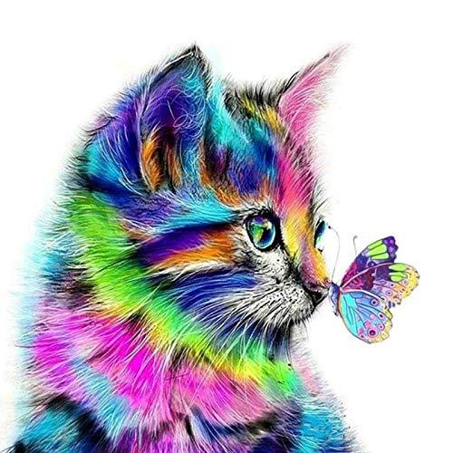 GLEBY DIY 5D Diamante Pintura Kits,Punto de cruz de gato y mariposa,...