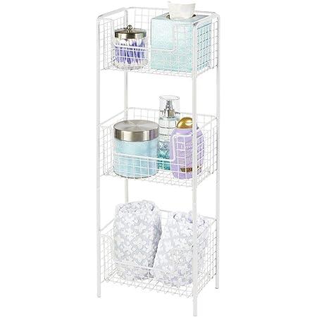 mDesign Estantería de baño de pie en metal – Mueble auxiliar de baño resistente con tres baldas metálicas para toallas, champú y jabón – Ideal también ...
