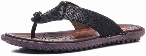 Oudan Elegantes Sandalias de Cuero. Cómodas Hausschuhe Antideslizantes. (Farbe   schwarz, tamaño   41)