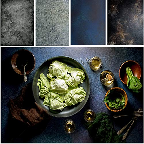 Shengzkc Food Photography Backdrop Paper 2 Pcs Kit 21.3x33.5inch Cement Concrete Flat Lay Photo Background Retro Double Sided for Tabletop Product Blog Pictures Props Jewelry,4 Patterns