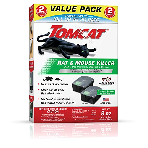 Tomcat 4388404 Rat and Mouse Killer Indoor/Outdoor Use-Child and Dog Value Pack of 2 Resistant, Pre-Filled, Easy Monitoring, 2 Stations