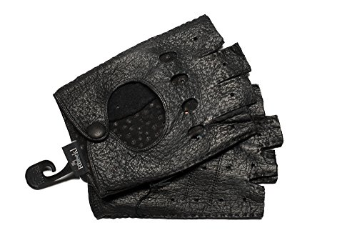 Roeckl Classic Driver Peccary Herren Halbfinger Autofahrer Handschuhe aus Leder - Schwarz (0) - 24,5 cm (9)