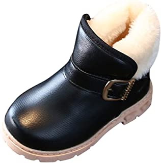 OldloverAnkle Boots for Girls Toddler Snow Boots for Boys Girls Winter Outdoor Waterproof Fur Lined Kids Booties