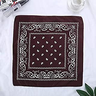 WENPINHUI Fashion Women Hair Accessories Linen Bandana Scarf Square Female Bandanas Headwear Rock Cool Girls Multi Headbands (Color : Coffee)