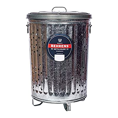Behrens Manufacturing B907P Galvanized Composter Steel Trash Can for Garden and Yard Waste Hot-Dipped, 20-Gallon