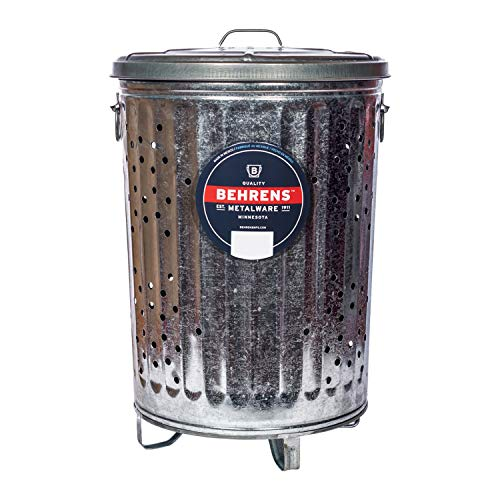 Behrens Manufacturing B907P Galvanized Composter Steel Trash Can for Garden and Yard Waste...