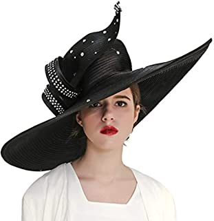 KUEENI Women Hats Hot Red Color Church Hats Party Wear Wide Brim for Derby Events