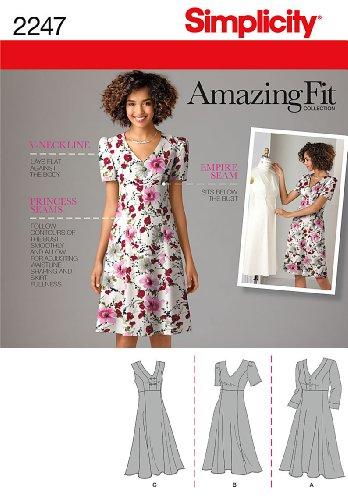 Simplicity Schnittmuster 2247 AA für Damenkleider, Gr.  38-46
