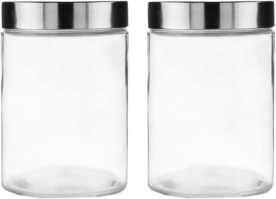 DOITOOL 2pcs 1200ml Round Glass Chicago Mall Bottle Storage Food Cheap super special price Tank