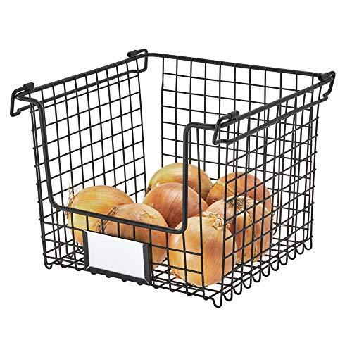 iDesign Caja, Cesta de Metal Grande, apilable y con Asas para Guardar cosméticos o artículos de papelería, Organizador para baño, Cocina o despacho, Negro