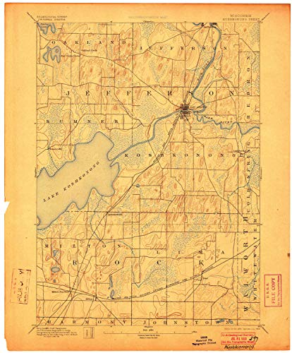 YellowMaps Koshkonong WI topo map, 1:62500 Scale, 15 X 15 Minute, Historical, 1894, Updated 1903, 20.39 x 16.86 in - Paper (Best Places To Work Remotely In Minneapolis)