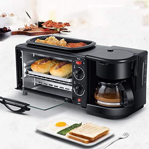 AFF Máquina de Desayuno eléctrica 3 en 1 220V Horno Tostador Cafetera casera Pizza Tarta de Huevo Horno Sartén Máquina para Hacer Pan con Temporizador