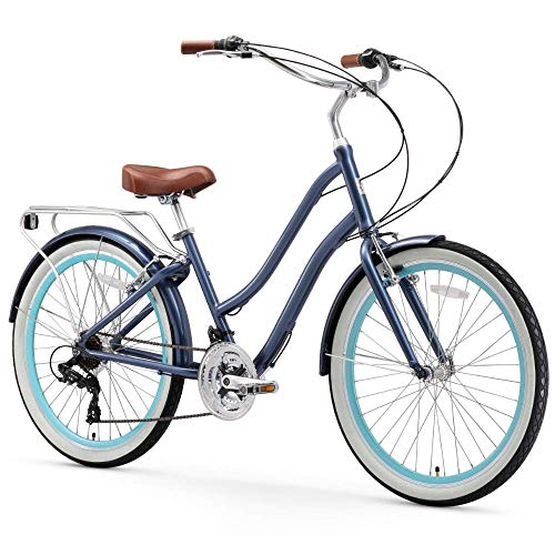 "sixthreezero EVRYjourney Women's 21-Speed Step-Through Hybrid Cruiser Bicycle, 26"" Wheels and 17.5"" Frame, Navy with Brown Seat and Grips, 630089, Navy w/Brown Seat/Grips"