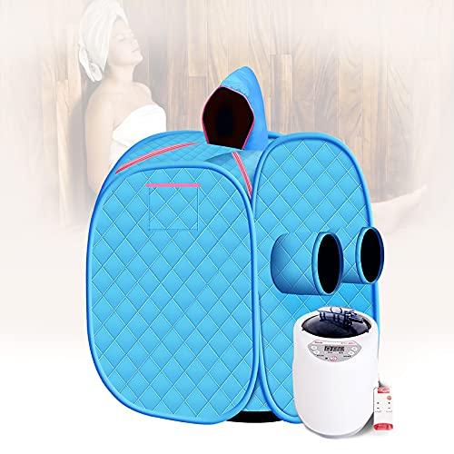 HIMNA PETTR Vaporizador de Sauna Personal, Sauna Portatil SPA en Casa Cuerpo Ajuste de 9 Velocidades con Mando a Distancia Inalámbrico, Deshumidificación, Fumigación y Belleza,Azul