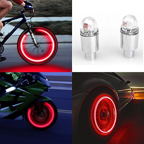 MMLC 2 stücke LED Wasserdichte Reifen Ventilkappen Neonlicht Auto Zubehör Fahrradlicht Auto, geeignet für Fahrrad, Auto, Motorrad oder LKW (Rot)
