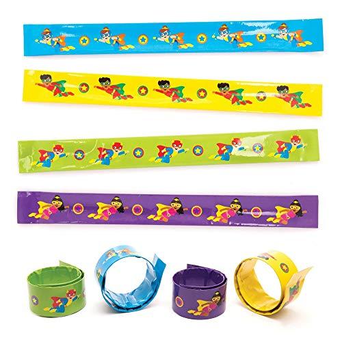 """Baker Ross Schnapp-Armbänder """"Superhelden"""" (6 Stück) – bunte Schnapp-Armbänder als kleine Party-Überraschung oder Geschenk für Kinder"""