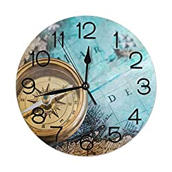 Home Decor Old Compass On World Map Round Wall Clock Acrylic Silent Non Ticking Decorative Clocks