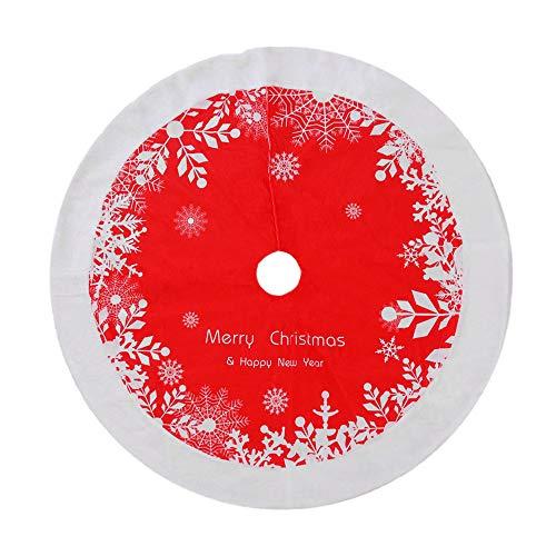ZLYCZW 48 Zoll Weihnachtsbaum Röcke, Elk Schneeflocken Buffalo Plaid Kunstpelz Weihnachtsbaum Rock für Neujahr Weihnachtsschmuck Holiday Party Ornamente