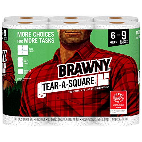 Brawny Tear-A-Square Paper Towels, 6 Rolls, 6 = 9 Regular Rolls, 3 Sheet Size Options, Quarter Size Sheets