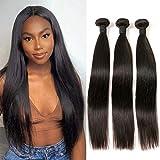 Meche en Lot de 3 Cheveux Remy Vierge Tissage Cheveux Humain Lisse Grade 7A Hair Couleur #1B Noir Naturel 300g Tissage Peruvienne 16 18 20 pouces…