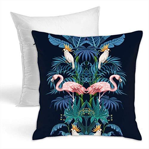 Fundas de almohada y almohadas para reposacabezas de 45,7 x 45,7 cm, un juego de árboles selváticos flamencos