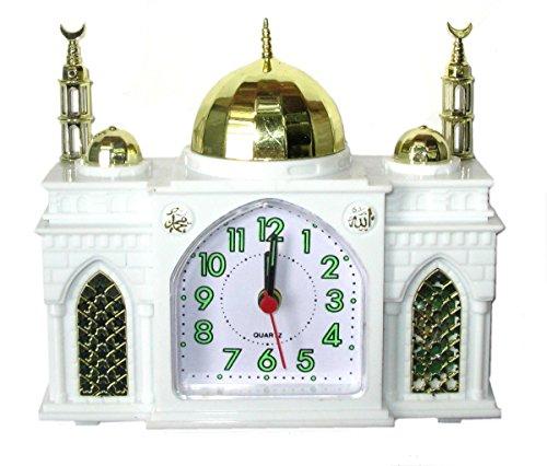 Moschee-Form Wecker - Batteriewecker Moschee - Spielt islamischen Gebetsruf, wenn der Alarm ertönt (weiss)