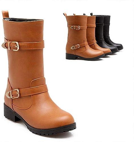ZHRUI schuhe para damenes - Stiefel en Punta de otoño e Invierno Stiefel de tacón bajo de Inglaterra Stiefel Calientes 34-43 (Farbe   braun, tamaño   34)