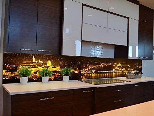 Dalinda® Küchenrückwand Küchenboard Küchenrückseite mit Design Budapest bei Nacht KR060