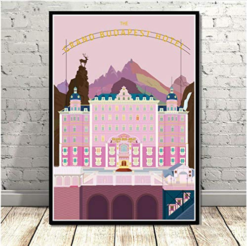 zhangdiandian Poster Oil Painting The Grand Budapest Hotel Movie Classic Comic Gift Poster Prints Art Canvas Wall Pictures Home Decor 50×70Cm No Frame