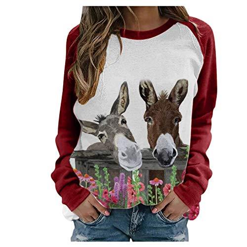Masrin Mask Frauen Sweatshirt Damen Herbst Winter Tier Blumendruck Pullover O-Ausschnitt Langarm Patchwork Top Bluse(M,Rot)