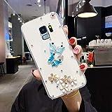 Urhause Coque Compatible avec Samsung Galaxy S9 Papillon 3D Transparente Clair Souple TPU Silicone Etui Paillettes Diamant Strass Housse Bumper Slim Flexible Protection Case Fille Femme-Papillon Bleu