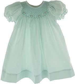 Girls Mint Green Smocked Dress Bonnet Set Bishop Day Gown