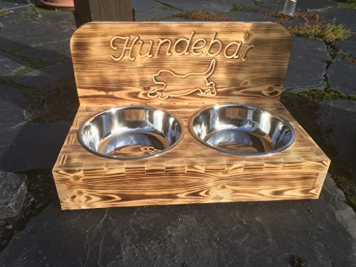 Hunsrück Manufaktur Hundebar M Futterbar inkl. 2X 1600ml Futternapf für Hund Futterstation | Mit Rückwand für kleine bis mittlere Hund 1,6L