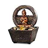 """Newport coast collection Small Tranquil Buddha LED Water Fountain 7.2"""" High (No Adapter)"""