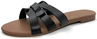 Harper Shoes Slide Flat Sandal with Woven Single Over The Toe Strap