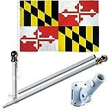 Ant Enterprises Maryland 3 x 5 FT Flag Set w/ 6-Ft Spinning Flag Pole + Bracket (Tangle Free)