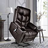 Electric Power Lift Recliner Chair Sofa for Elderly with Massage and Heat Vibration with Remote, 3 Positions, 2 Side Pockets, USB Ports, Heavy Duty and Safety Motion PU Leather Reclining Sofa Chair