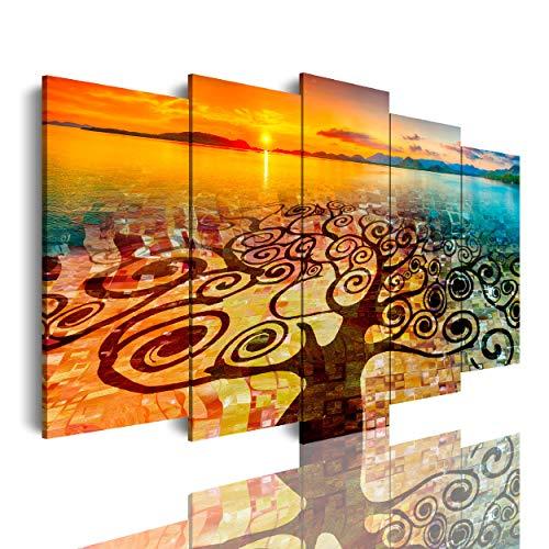 DekoArte 553 - Cuadros Modernos Impresión de Imagen Artística Digitalizada | Lienzo Decorativo Para Tu Salón o Dormitorio | arbol de la vida Gustav Klimt con paisaje en playa | 5 Piezas 150 x 80 cm