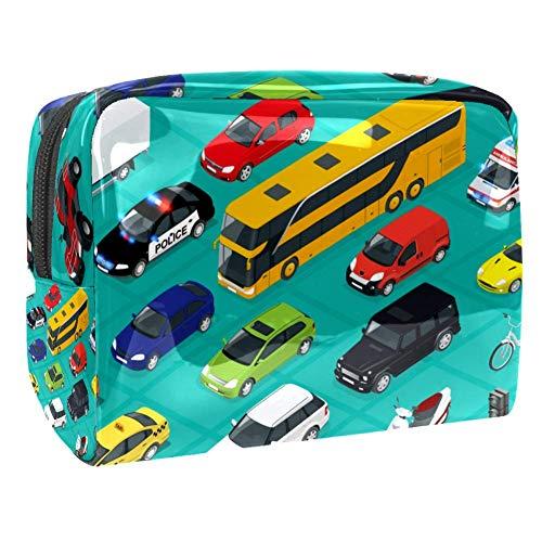 TIZORAX Cars Bus Ambulance En Bike Cosmetische Tassen PVC Make-up Tas Reizen Toiletten Handige Organizer Tas voor Vrouwen