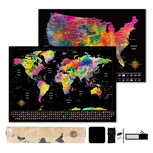 Lafefo Scratch Off Map of The World - World Map with Bonus Scratch Off USA Map with Full Accessories Set