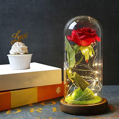 Powstro Lampada con Ornamenti di Rose, Lampada a LED in Vetro Rosa immortale con Simulazione...