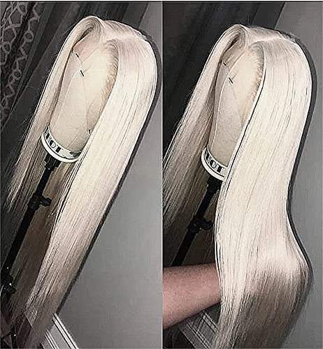 VEBONNY 613 - Parrucca da donna con pizzo frontale, effetto realistico, biondo platino, capelli lisci e setosi, con parte centrale, 61 cm, VEBONNY-061