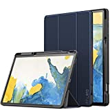 INFILAND Funda Case para Samsung Galaxy Tab S7+/S7 Plus 12.4(SM-T970/T975/T976) 2020, Estuche Carcasa TPU para S Pen,Book Cover con Auto Reposo/Activación para Samsung Tab S7 Plus 12.4,Azul Oscuro